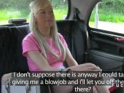 Blonde giving blowjob in a fake taxi