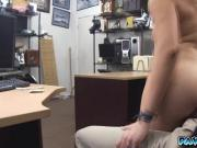 Sexy blonde strips and banged in front of the camera for money