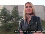 Hot blonde fucked agent in public