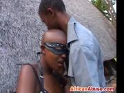 Kinky African couple fucks hard in their backyard