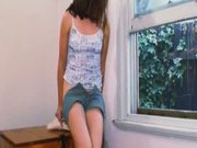 Eager Teen Working Hairy Fuckhole Right By The Window