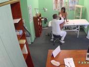Doctor rubs huge tits of patient