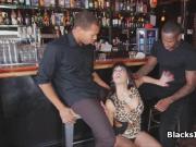 Bartender rides two big black dicks