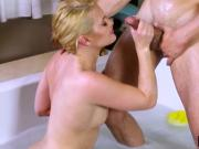 Abby Cross bathtub rubbing body massage nuru