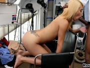 Petite blonde girl gags on huge black anaconda