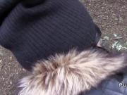 Hot ass babe fucks in jacket outdoor