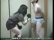 japanese guy loves having his boner punched and kicked