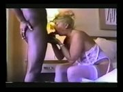 Thirsty MILF Sucks Off Hard Black Stud