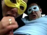 real whore wearing a mask gives a blowjob in the car