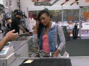 Hot ebony gets fucked at the pawnshop for the golf clubs