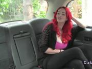 Redhead with huge tits in fake taxi