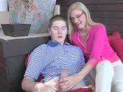 He is a feeling a little uncomfortable with her agressive step mom but he doesnt mind a blow job