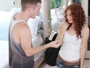 Redhead teen bitch Alice Green gives head and pussy banged