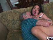 Teen holds grandpa's dick in the mouth during oral experience