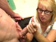 Amateur mature with glasses messy facial