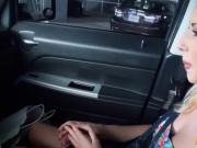 Pretty amateur blond teen stuffed inside the car