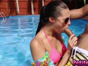 Sexy babe Carolina outdoor poolside fucking