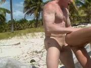 Hot blonde beach sex and a facial