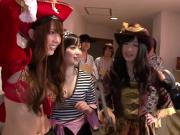 Cosplay japanese pirate lady squirts during orgy