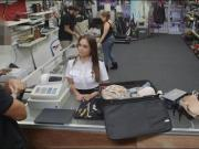 Stewardess nailed by horny pawn keeper in his pawnshop