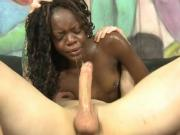 Ebony Skank Tries Hard To Swallow Big White Cock