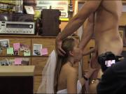 Babe pawns the wedding dress and stuffed by horny pawn dude