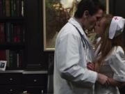 Busty nurse making out with her doctor