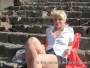 Czech girl flashes her tits and fucked in public place