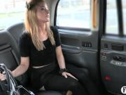 Tight blond in stockings fucked by fake driver outdoors
