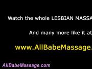 Masseuse tentatively rubs pussy