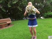 Busty cheerleader flashing boobs outdoor