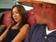 Naughty Asian Hottie Jams Meaty Penis In Mouth And Cunt