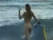 Chicks Surfing Naked On The Beach