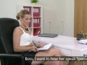 Horny Czech lesbo got pussy jerked by fake female agent