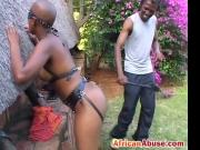 Real sex act in African whipping ebony ass babe