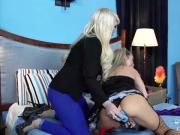 Lezdom blonde dyke plays with her sub