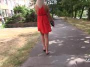Blonde gal sucking cock outdoors