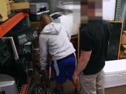 Interracial blowjob in pawnshop backroom