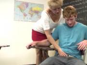 Grandma teacher jerking off cock