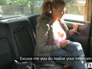 Giant boobs amateur blond passenger screwed by fake driver