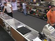 Pawnshop amateur wanking for cash