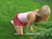 Young slim blonde fucked outdoors
