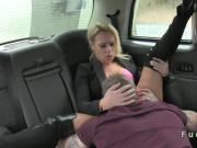 Sexy couple banging in a cab in motion