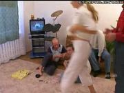 russian old guys gangbang a blonde teen
