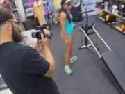 Ebony gym instructor fucked by pawn man to earn money