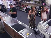 Busty pawnshop latina babes bj for cash