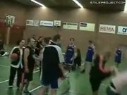 Flying Kick Knock Out At Basketball Game