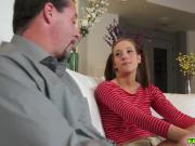 Molly serves her step dad a deep throat blowjob