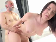 Old Man Shoots His Load On Delicious Teen Hottie Lenka