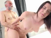 Old Man Shoots His Load On Delicious Teen Hottie Lenka